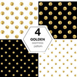Set of four vector abstract bright background with golden polka dot. stock illustration