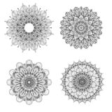 Set of four black and white mandalas. Vector mandala. Set of vector mandalas. stock illustration