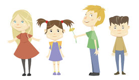 Set of four vector cartoon cute children isolated on white. Background vector illustration