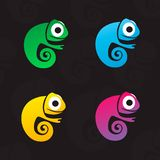 Set of four vector colorful chameleons . Vector logo for children club. vector illustration