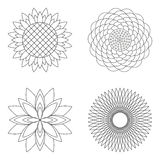 Set of four vector floral simple mandalas - rose, sunflower, lotus and aster - black and white adult coloring book pages Royalty Free Stock Images