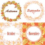 Autumn frames and wreaths with leaves. Royalty Free Stock Image