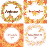 Autumn frames and wreaths with leaves, vegetables and fruits Royalty Free Stock Photos