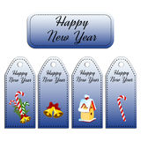 Set of four vector holiday gift tags. Happy New Year. Royalty Free Stock Photos