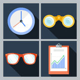 Set of four vector icons with the clock Stock Images