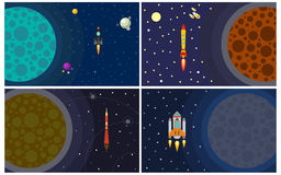Set of four vector illustration with flying rocket. Royalty Free Stock Image