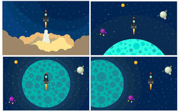 Set of four vector illustration with flying rocket. Stock Images