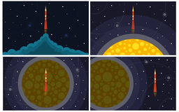 Set of four vector illustration with flying rocket Royalty Free Stock Image