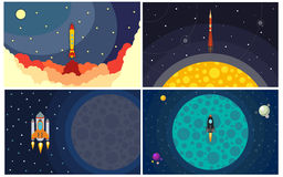 Set of four vector illustration with flying rocket Royalty Free Stock Photo