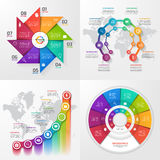 Set of four vector infographic templates 8 options. Stock Photos
