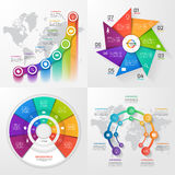 Set of four vector infographic templates 7 options. Stock Photo