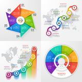 Set of four vector infographic templates 6 options. Stock Photo