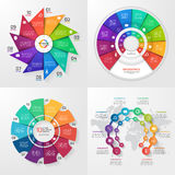 Set of four vector infographic templates. 10 options Stock Photography