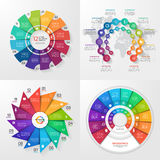 Set of four vector infographic templates. 12 options Stock Images