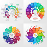 Set of four vector infographic templates. 11 options Stock Photos