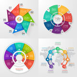 Set of four vector infographic templates. 7 options Stock Photo