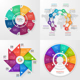Set of four vector infographic templates. 8 options Stock Photography