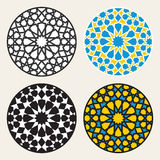 Set of Four Vector Islamic Ornamental Rosette Circle Design Elements Royalty Free Stock Image