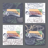 Set of four vector Mediterranean cuisine banners. Stock Photos