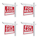 Set of Four Vector Real Estate Signs stock images
