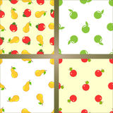 Set of four vector seamless backgrounds. Fruits - apples and pears Stock Image