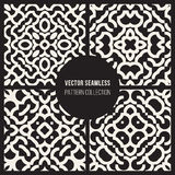 Set of Four Vector Seamless Black And White Ethnic Geometric Rounded Arcs Patterns Royalty Free Stock Photo