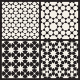 Set of Four Vector Seamless Black and White Islamic Stars Tessellation Geometric Pattern Royalty Free Stock Images