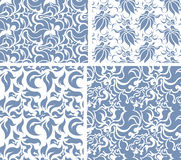 Set of four vector seamless floral patterns. Royalty Free Stock Photo