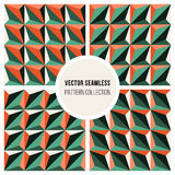 Set of Four Vector Seamless Geometric Triangle Patterns in Green and Orange Shading. Abstract Background Stock Illustration