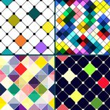 Set of four vector seamless pattern with rhombus. Royalty Free Stock Photos