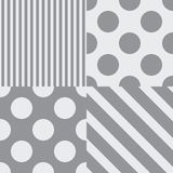 Set of four vector seamless patterns. Grey colors vector illustration
