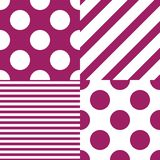 Set of four vector seamless patterns. White and purple colors vector illustration