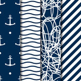 Set of four vector seamless sea style patterns. With anchors. Abstract seamless background. Use for fabric, textile, pack, web design Stock Image