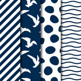 Set of four vector seamless sea style patterns Royalty Free Stock Image