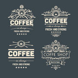 Set of four vector  trendy coffee badges and labels. For design business project Royalty Free Stock Image