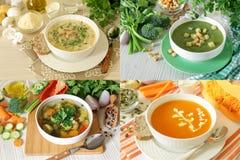 Set of four vegetable soups light mix vegetables, champignon mushrooms, broccoli celery and pumpkin puree soups - royalty free stock photos