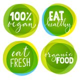 Set of four vegetarian labels with lettering. Healthy food stickers. Set of four vegetarian labels with lettering. Healthy food stickers for vegans Royalty Free Stock Photography