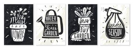 Garden plants chalk posters set vector illustration