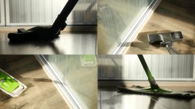 Set of four videos, cleaning the floor with a mop and vacuuming. 4k, 3840x2160. HD stock footage