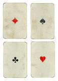 Set of four vintage ace playing cards Royalty Free Stock Images