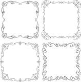 Set of four vintage black frame with empty place for your text Stock Photography