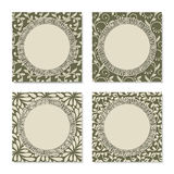 Set of four vintage circle frames Stock Images