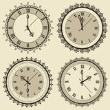 Vintage Clock Set. Set of four vintage clocks Royalty Free Stock Photos