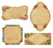 Set of four vintage labels with flowers Royalty Free Stock Photo