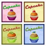 Set of four vintage posters cupcake. Stock Photos