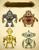 Set of four vintage robots. And display for text insertion Royalty Free Stock Images