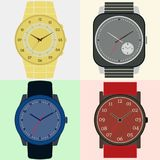 Set of four watches. Clock face with hour, minute and second hands. Vector illustration royalty free illustration