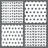 Set of four watercolor simple patterns. Stock Photos