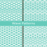 Set of four wave blue patterns. Vector set of four wave blue patterns Stock Photography