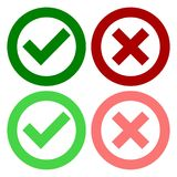 A set of four web buttons, green check mark and red cross in two variants. Vector icon royalty free illustration